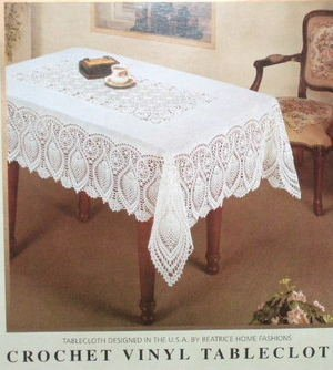 White Crochet Vinyl Tablecloth
