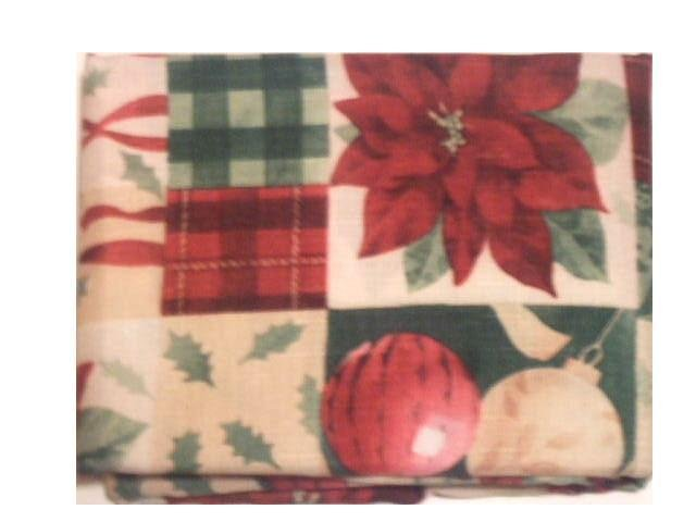 Red and Green Christmas Holiday Fabric Tablecloth