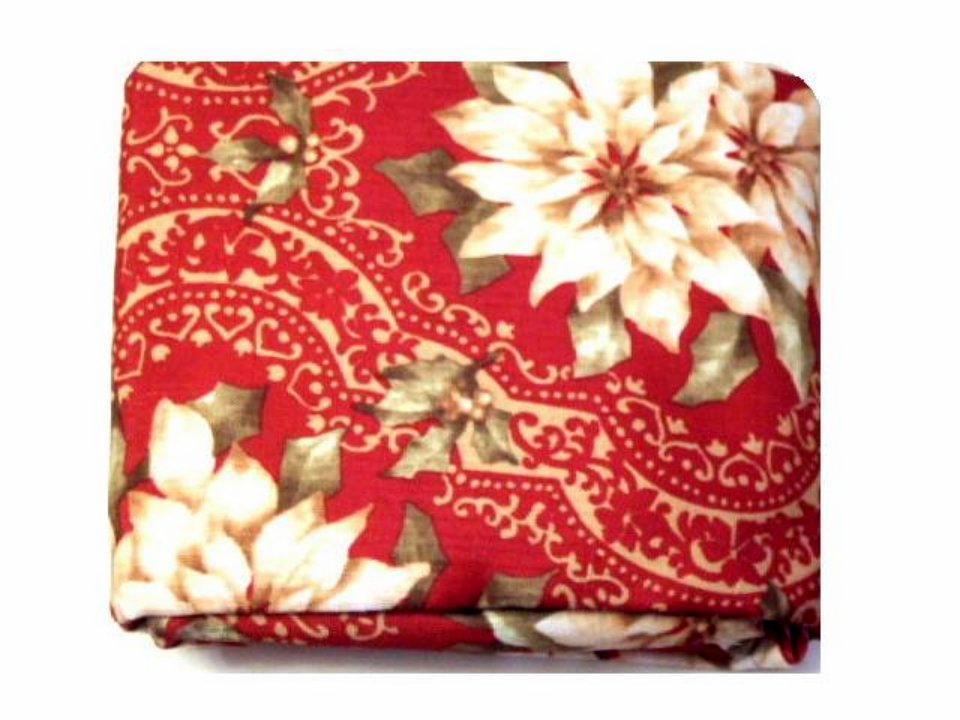 Red Fabric Tablecloth Christmas Poinsettias
