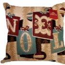 Christmas Tapestry Pillow Noel Trees Trimmings