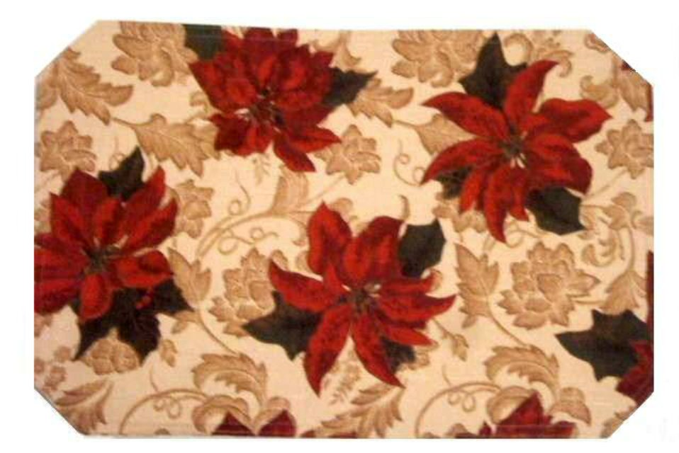 Christmas Poinsettia Damask Kitchen Placemats