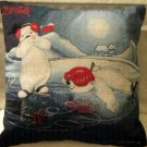 Christmas Pillow Coca Cola Bears Ice Skating  Holiday Decor