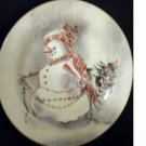 Snowman Wall Plate Decorative Winter Scene