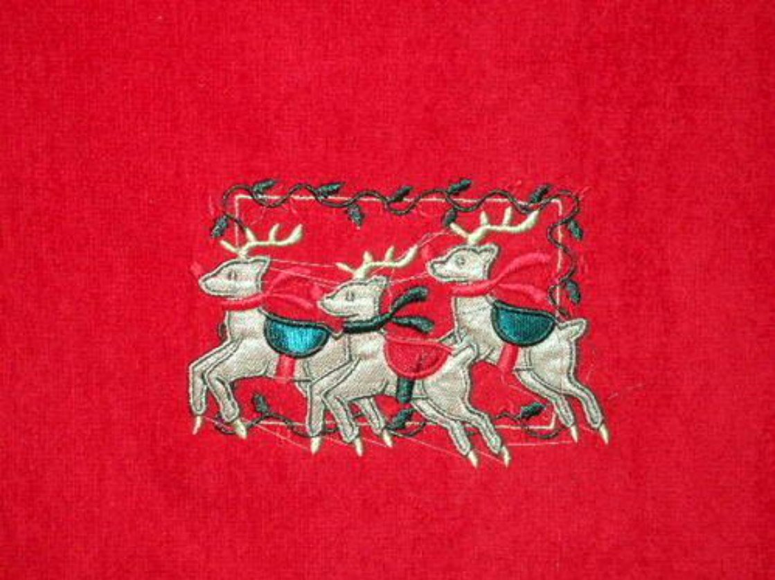Red Christmas Bath Towels Embroidered Reindeer
