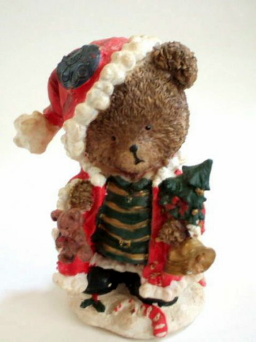Christmas Teddy Bear Figurine with Tree Bells and Gifts