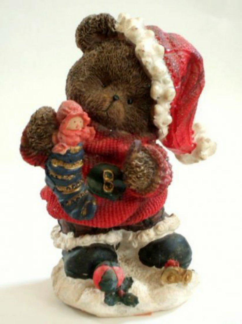 Christmas Teddy Bear Figurine with Doll