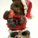 Christmas Teddy Bear Figurine with Doll
