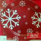 Red Snowflakes Cake Plate and Server