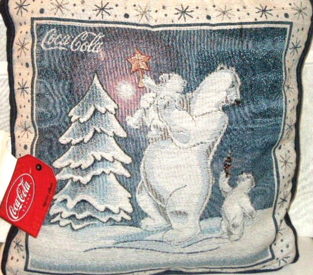 Christmas Pillow Coca Cola Bears Decorating Tree Holiday Decor