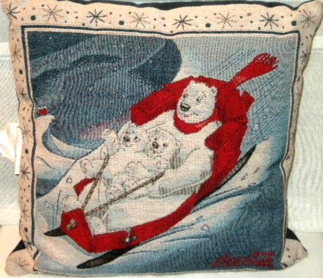 Christmas Pillow Coca Cola Bears on Sled Holiday Decor