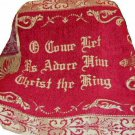 Red Christmas Throw Chenille Tapestry or Religious Wall Hanging