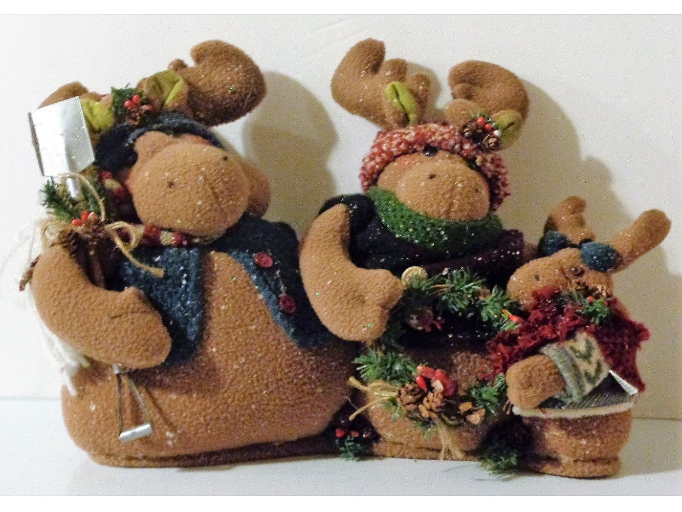 Moose Family Christmas Plush
