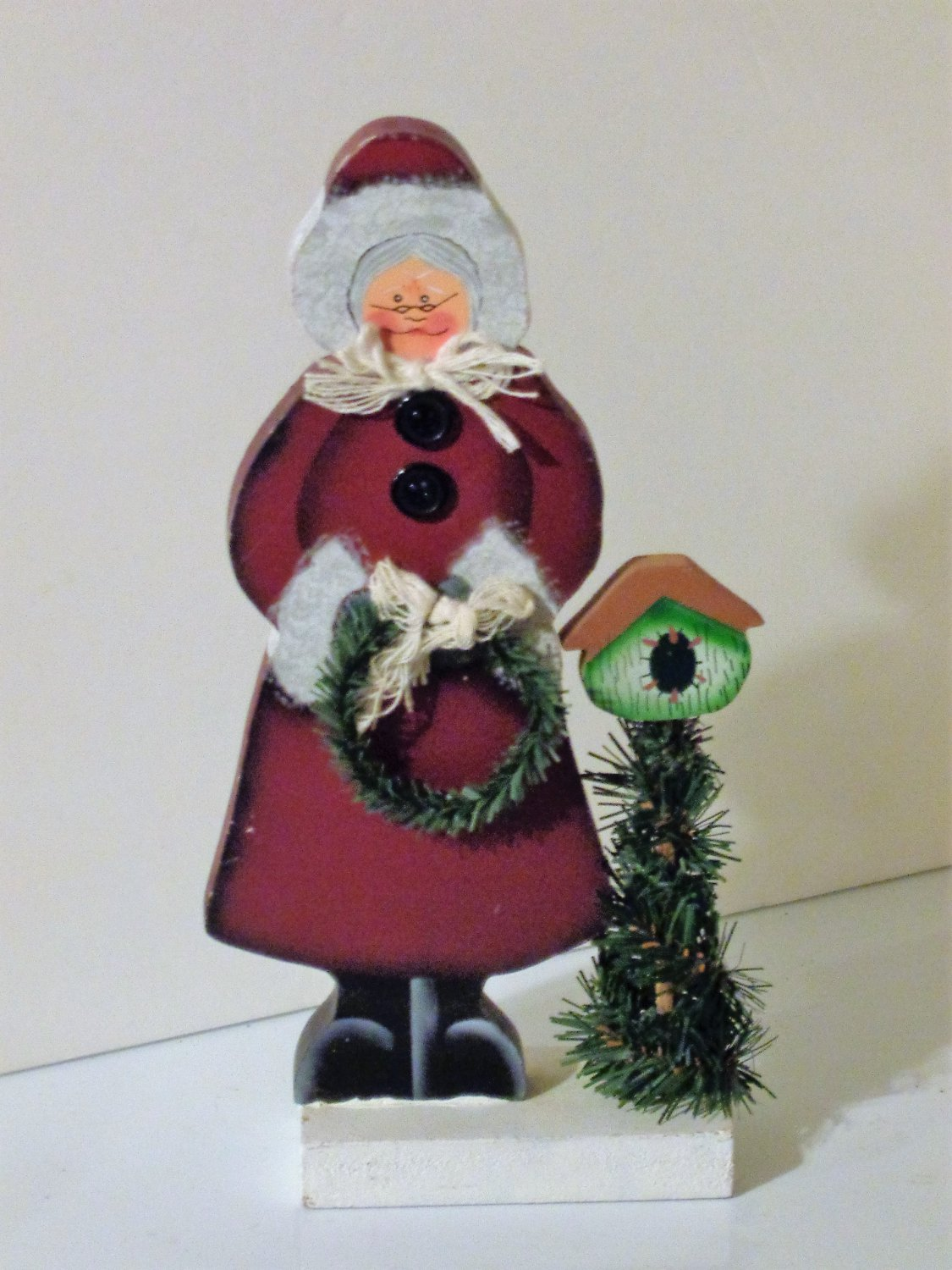 Mrs. Santa Claus Wooden Figurine Wreath Birdhouse