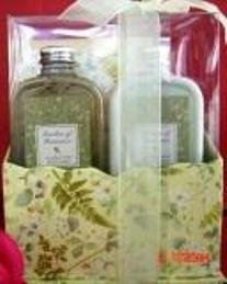 GARDEN OF ROMANCE MEADOW MIST 2 PC TRAVEL BATH SET W/ MINI ORGANIZER