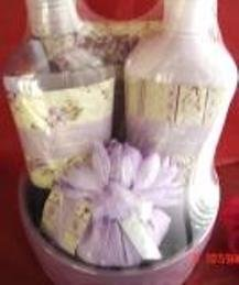 LAVENDER 6 PC BATH & NOTE SET IN CERAMIC BOWL