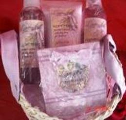 LAVENDER 4 PC 5 OZ BATH SET WITH WOVEN BASKET