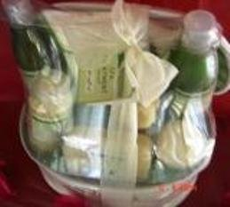 GREEN TEA & LEMON 9 PC SPA TREATMENT BATH SET W/ REUSABLE CASRRIER