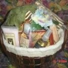 PARRIS 8 PC BATH & JOURNAL SET IN LINED WOVEN BASKET