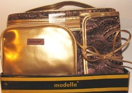 MODELLA 3 PC BROWN TRAIN TRAVEL COSMETICS SET