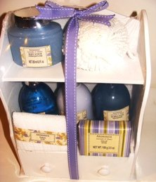 LAVENDER & HONEY 7 PC BATH SET W/ WOODEN CABINET