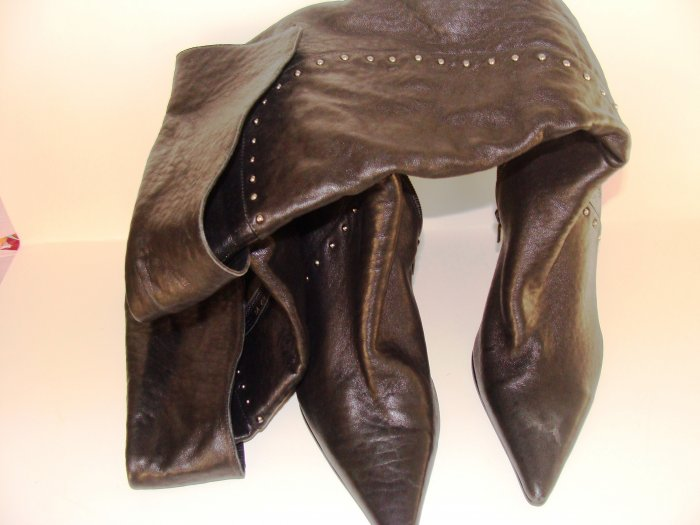 BRONX WOMEN'S BLACK OVER THE KNEE LEATHER STACKED HEEL DRESS BOOTS, SIZE 7M