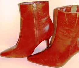 BRUNO VALENTI WOMEN'S BROWN LEATHER ANKLE BOOTS, SIZE7M