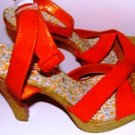 MICHAEL ANTONIO WOMEN'S ORANGE CORK HEEL SANDAL W/ CRISSCROSS STRAPS, SIZE 7M