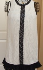 GARCIA WOMEN'S SLEEVELESS BLACK/IVORY LACE TUNIC, SIZE SMALL