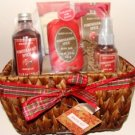 POMEGRANTE SPICE 5 PC BATH SET IN WOVEN BASKET