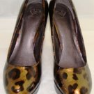 MADELINE WOMEN'S ADIRA GOLD LEOPARD PATENT DRESS SHOES SIZE 10m