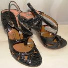 OH DEER WOMEN'S STRAPPY BLACK PEEP TOE DRESS SANDAL SIZE 7m