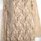 GRACIA VELVET & LACE BEIGE LONG SLEEVE TUNIC, SIZE MED 8-10, LG 12-14