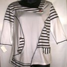 BALI NAVY BLUE/WHITE STRIPE 3/4 SLEEVE SHIP SAILOR TOP SIZE M 8-10, XL 14-16, XXL 18-20