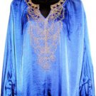 BLACK BEADED BAT WING SLEEVE ROYAL BLUE TOP, SIZE LG (14)