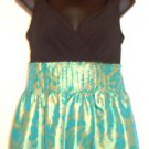 SANGRIA WOMEN'S TEAL GREEN /GOLD/BLACK SLEEVELESS COCKTAIL DRESS SIZE, 4, 8
