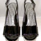 OH DEER WOMEN&#39;S BLACK PATENT WEDGE SLING BACK SHOES SIZE 7m