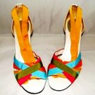 ENZO ANGIOLINI WOMEN'S & MULTI-COLOR HEELS W/  ANKLE WRAP SIZE 7M