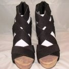 "MADELINE WOMEN'S REBA BLACK STRAPPY FASHION 4.5"" PLATFORM WEDGE SANDAL SIZE 9"