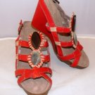 "APEPAZZA WOMEN'S AMBRA RED FASHION STRAPPY 4"" PLATFORM WEDGE SANDAL SIZE 8, 9"