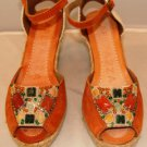 "APEPAZZA WOMEN'S FASHION GAIA ORANGE 4"" OPEN TOE WEDGE SIZE 8, 10"