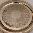 "WM ROGERS SILVER-PLATE 13"" ROUND RETICULATED & ETCHED SERVING PLATE"