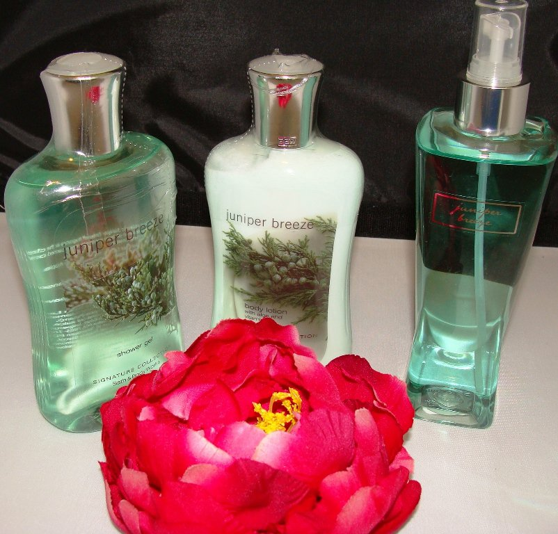 BATH & BODY WORKS JUNIPER BREEZE 3 PC BATH SET