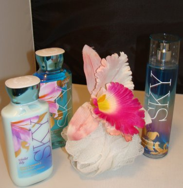 B & BW VIOLET LILY SKY 3 PC BATH AND BODY SET