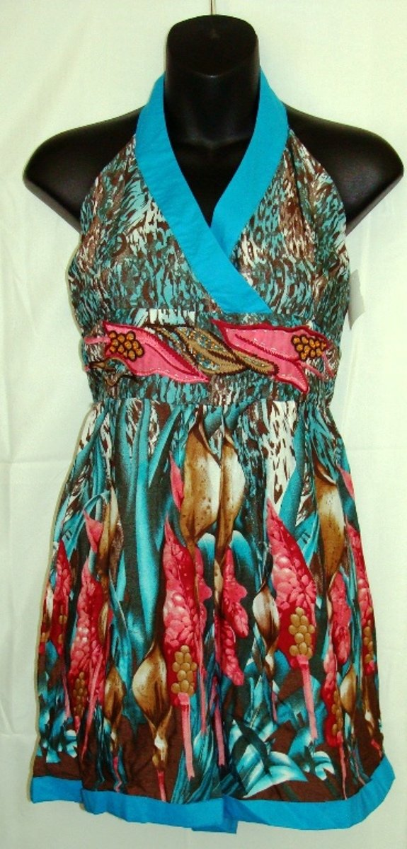 YOUNG THREADS BLUE MULTI-COLOR HALTER ROMPER SIZES, MED-10, L-14