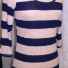 HELLO MISS NAVY/BEIGE STRIPE SHEATH 3/4 SLEEVE DRESS SIZE SM, MED, L