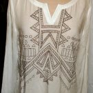 ANDREE OFF WHITE EMBROIDER TUNIC TOP SIZE, LG