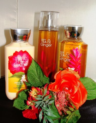 BATH & BODY WORKS WHITE TEA & GINGER 3 PC BATH & BODY SET