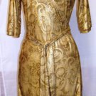 VERONICA-M PRINT GOLD/BROWN WRAP DRESS SIZE MED