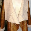 HOT & DELICIOUS CAMEL FAUX SHEARLING LAMBSKIN LEATHER JACKET SIZE SM, LG