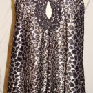 GRACIA BLACK & SLIVER SLEEVELESS SHEER LACE TUNIC TOP SIZE MED
